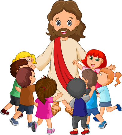 Cartoon Jesus Christ being surrounded by children