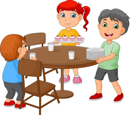 Bambini dei cartoni animati che apparecchiano la tavola mettendo bicchieri e cibo