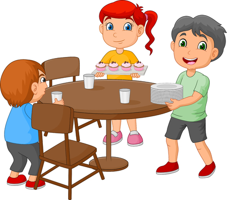 Cartoon kids setting the dining table by placing glasses and food