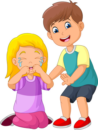 Cartoon little boy comforting a crying girl