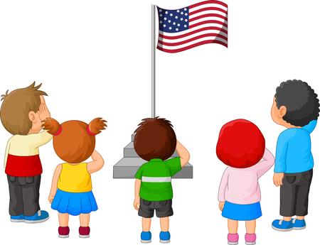 Cartoon Kids saluting the American Flag
