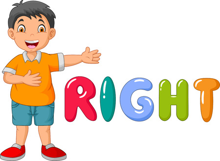 Cartoon little boy pointing to his right with the right word