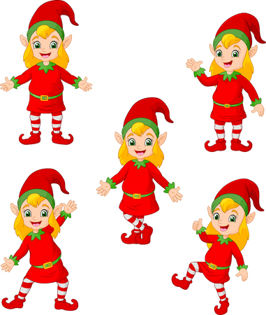 Cartoon Christmas elves in different poses and actions Ilustracja