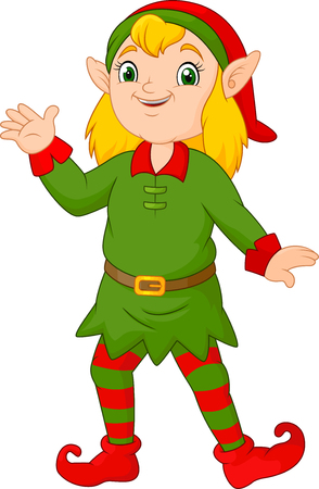 Cartoon christmas girl elf waving Ilustrace