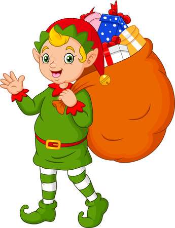 Cartoon Christmas elf carrying a sack of gifts Ilustracja