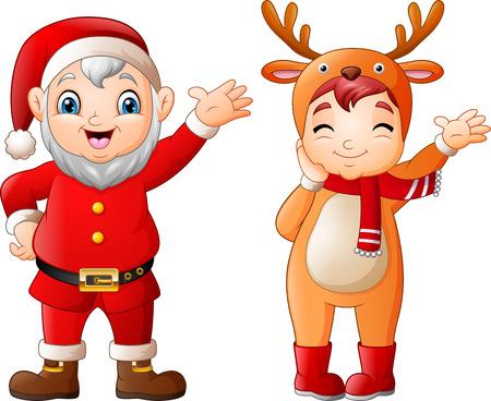 Cartoon santa claus with a girl wearing deer costumes Иллюстрация