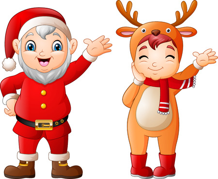 Cartoon santa claus with a girl wearing deer costumes Illustration