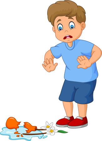 Mały chłopiec łamie doniczkę
