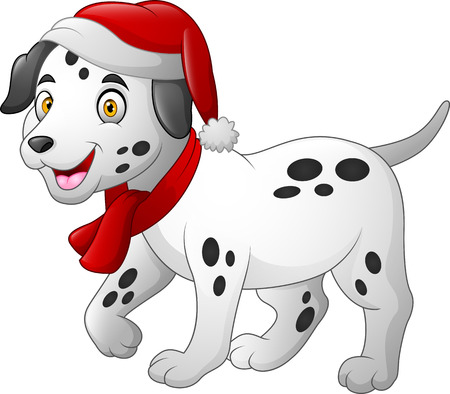 Dalmatian cartoon dog wearing a red santa hat and scarf Stock Illustratie