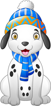 Dalmatian cartoon dog wearing a winter hat and scarf
