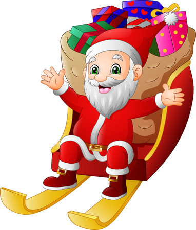 Santa Claus riding a sleigh with full of gifts