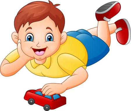 Niño lindo jugando coche de juguete rojo Ilustración de vector