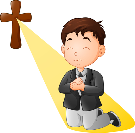 Cartoon little boy kneeling while praying Imagens - 113507640