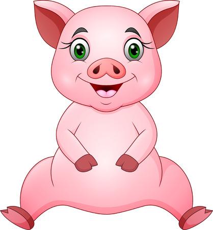 Cute pig cartoon sitting