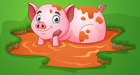Cartoon pig playing a mud puddle in the farm Illustration