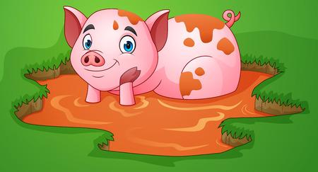 Dessin animé cochon jouant une flaque de boue dans la ferme