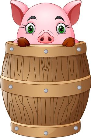 Cartoon little pig in barrel Illustration