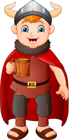 Cartoon boy in viking costume holding a beer mug