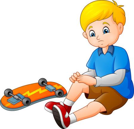 Patineur triste de dessin animé tombant de sa planche à roulettes