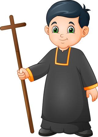 Serveur d'autel de petit garçon de bande dessinée dans l'uniforme tenant une croix Vecteurs