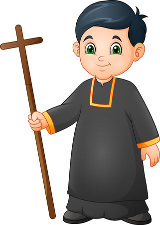 Cartoon little boy altar server in uniform holding a cross