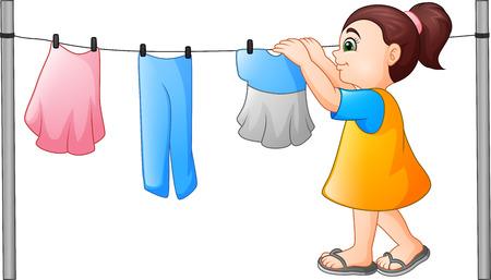 Cartoon little girl hanging clothes