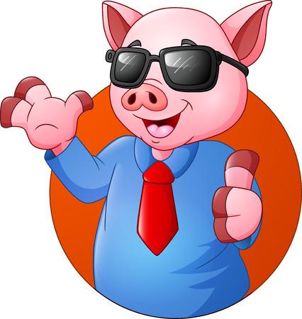 Cartoon pig businessman giving thumbs up
