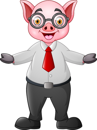 Cartoon pig businessman waving hand