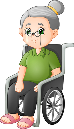 Cartoon grandmother sitting in the wheelchair 版權商用圖片 - 113507678