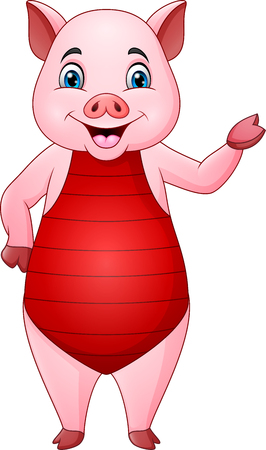 Cartoon pig in a swimsuit