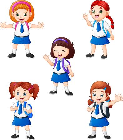 Happy school girls in different posing