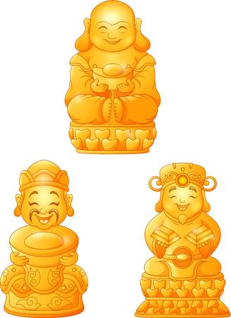 Ensemble de collection de Bouddha de dessin animé