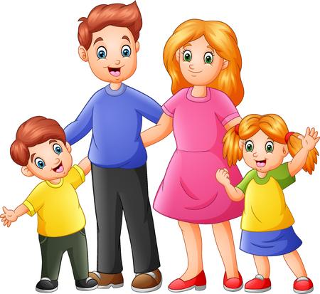 Happy family cartoon Çizim