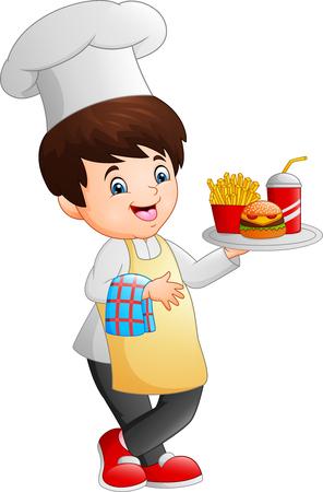 Cartoon chef cooking holding a fast food tray Zdjęcie Seryjne