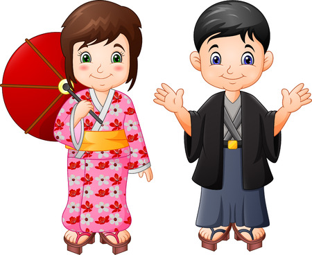 Cartoon Japanese boy and girl in traditional uniform