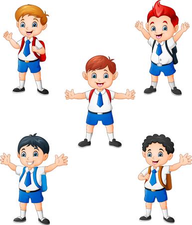 Happy school boys in different posing