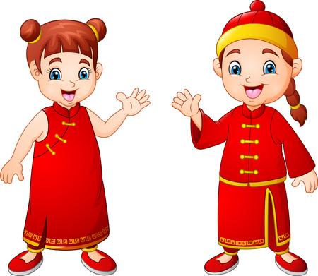 Cartoon cute boy and girl in chinese costume Zdjęcie Seryjne