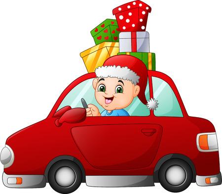 Cartoon boy driving a car carrying a presents Zdjęcie Seryjne
