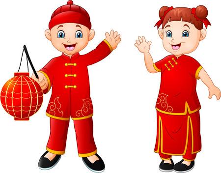 Cute Chinese children cartoon Zdjęcie Seryjne