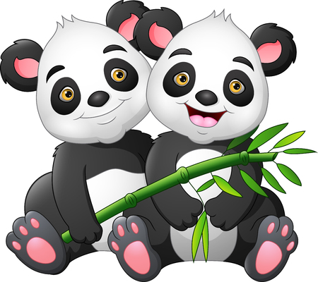 Cartoon couple panda with green bamboo Zdjęcie Seryjne