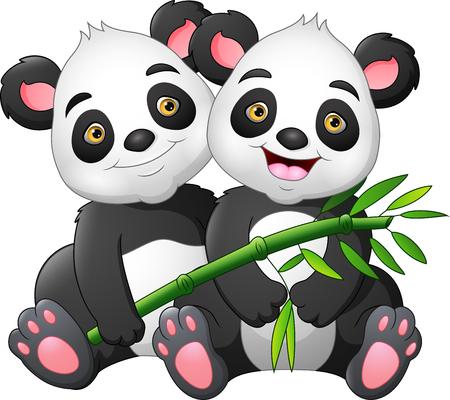Cartoon couple panda with green bamboo Ilustracja