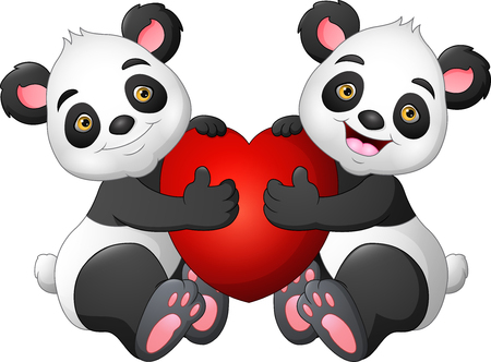 Cartoon couple panda with a red heart Illustration