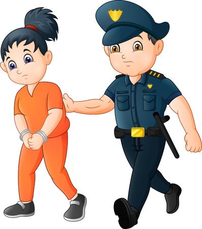 Cartoon Police officer with female prisoner