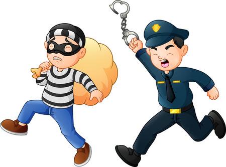 Un policier tente de chasser un voleur