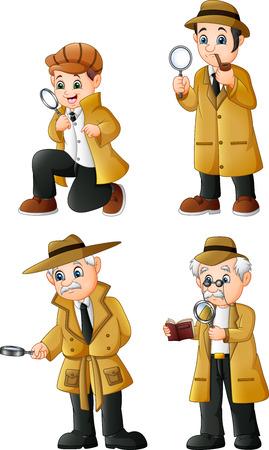 Niedliches Cartoon-Detektiv-Sammlungsset