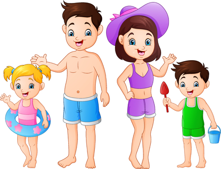 Summer holiday with family on the beach