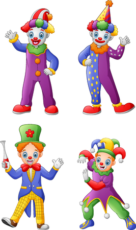 Set Of Colorful Friendly Clowns In Classic Outfits Zdjęcie Seryjne