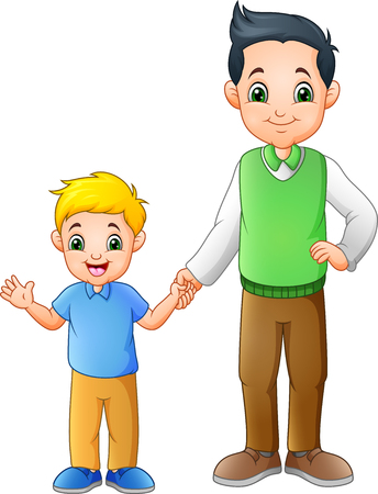 Cartoon boy with his father holding hands together Ilustracja