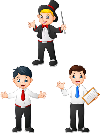 Young male cartoon in diffrent professions Ilustracja
