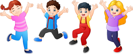 Cartoon children jumping together